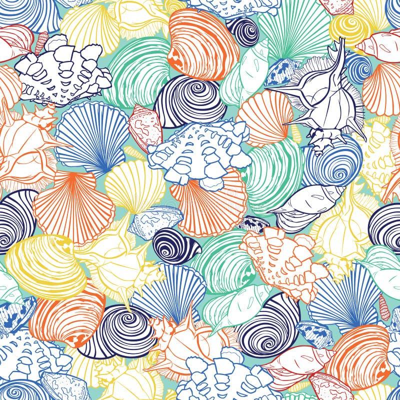 Teste padrão tropical colorido da repetição do vetor com variedade de conchas do mar overlaping Aperfeiçoe para a tela, scrapbook ilustração royalty free