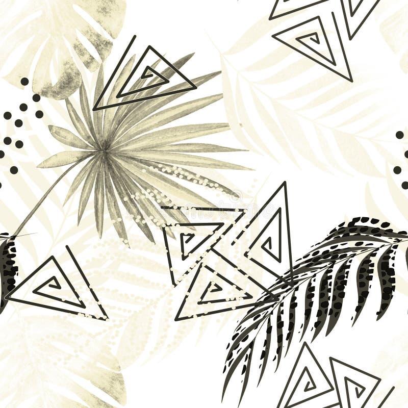 Teste padrão tropical colorido sem emenda Folhas de uma palma, monstera em um fundo branco ilustração stock