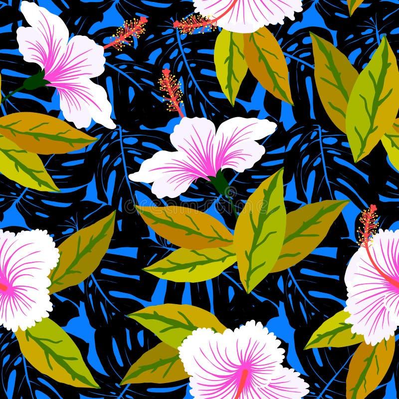 Teste padrão tropical com flores do hibiscus ilustração stock