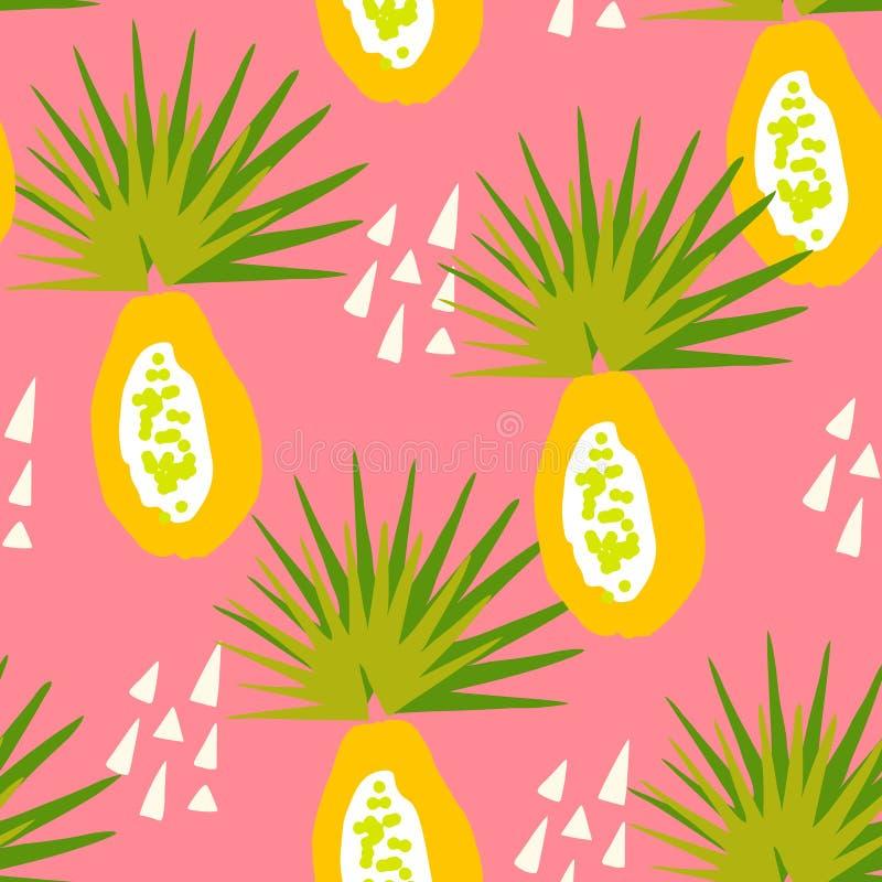 Teste padrão tropical com papaia e elementos abstratos no fundo cor-de-rosa Ornamento para a matéria têxtil e o envolvimento ilustração do vetor