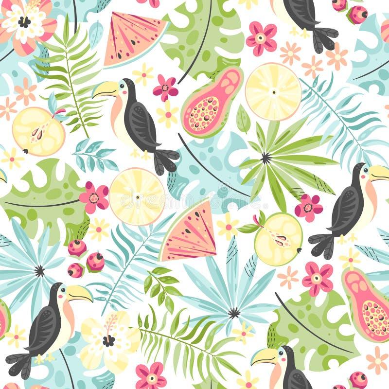 Teste padrão tropical com tucanos e plantas ilustração royalty free