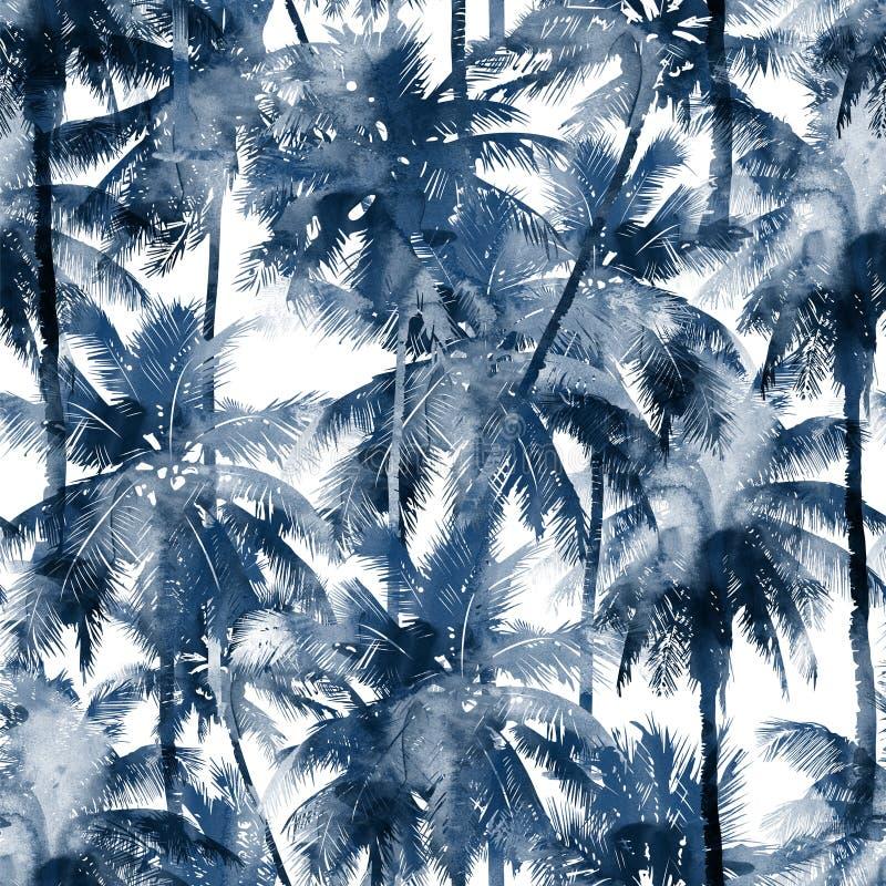 Teste padrão tropical da aquarela ilustração royalty free