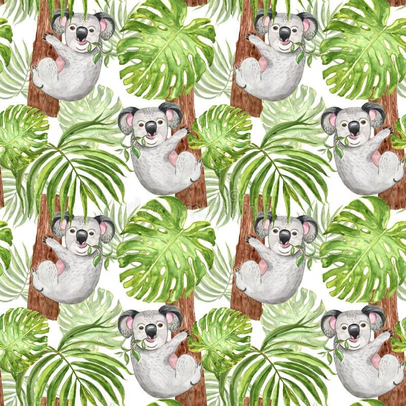 Teste padrão tropical da aquarela com coala, palma e folha do monstera no fundo branco Cópia botânica do verão, animal exótico ilustração royalty free