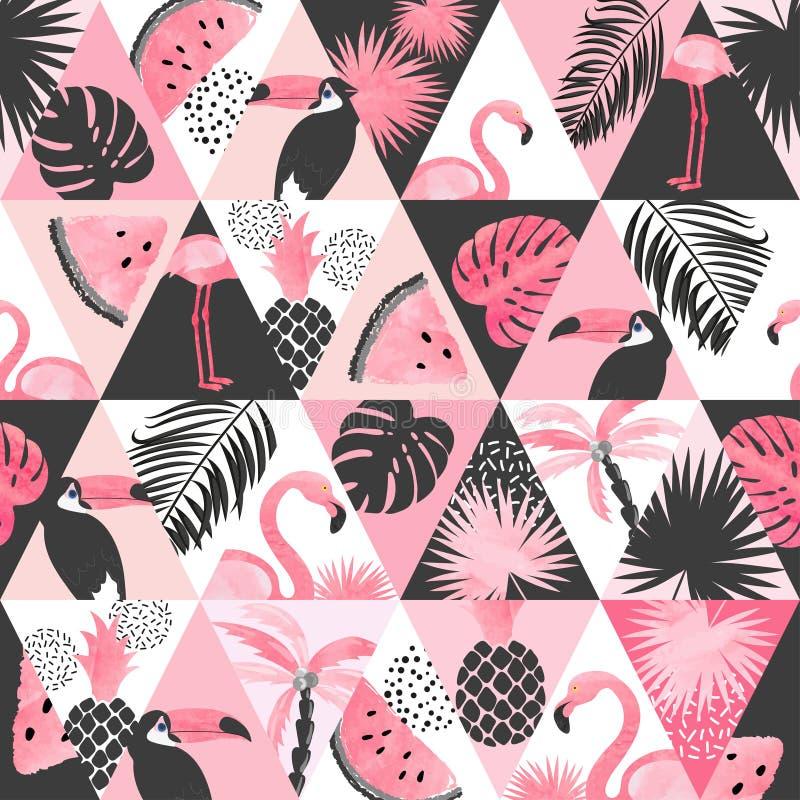 Teste padrão tropical da aquarela sem emenda no estilo dos retalhos Fundo na moda do vetor com flamingo ilustração do vetor