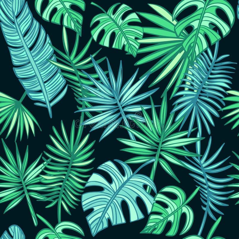 Teste padr?o tropical das folhas folhas de palmeira tiradas m?o no fundo escuro imagens de stock
