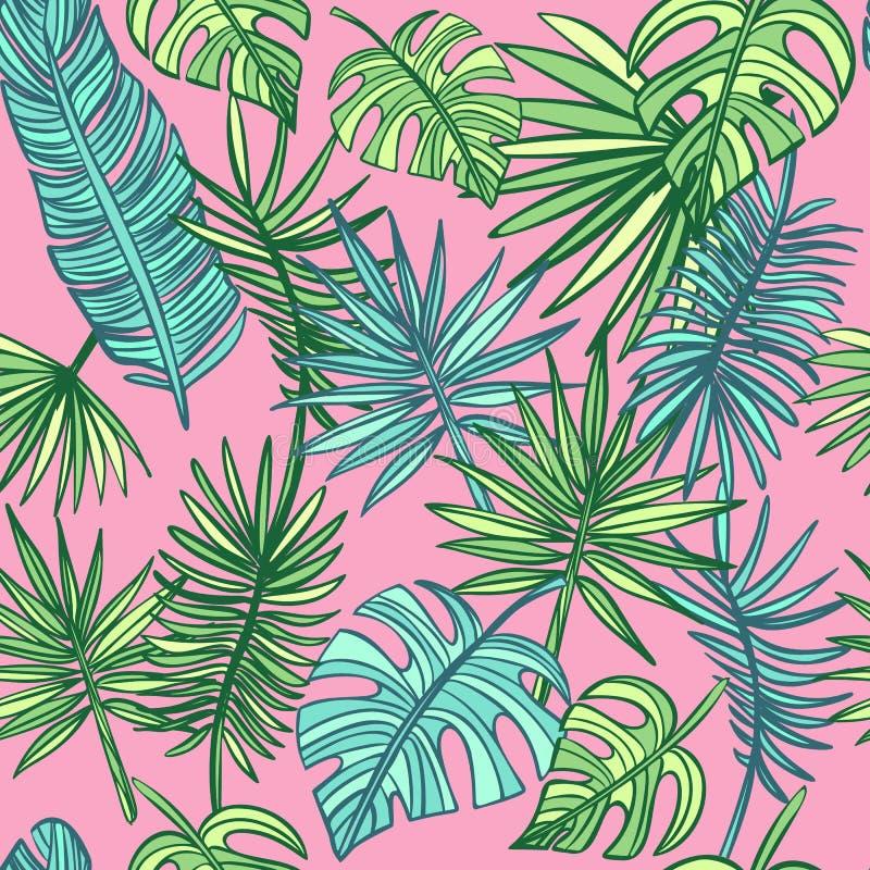 Teste padr?o tropical das folhas Turquesa e folhas tropicais do verde fotos de stock royalty free