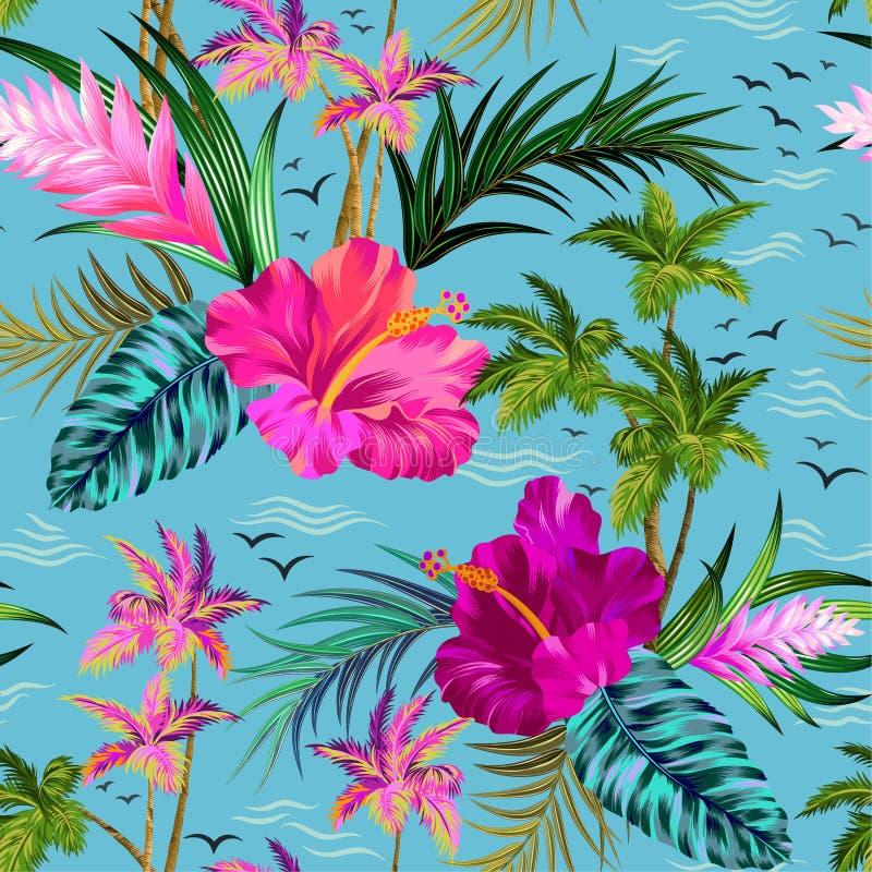 Teste padrão tropical das palmeiras do vetor ilustração do vetor