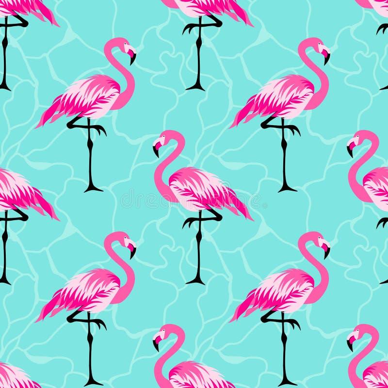 Teste padrão tropical do verão com pássaro do flamingo ilustração royalty free