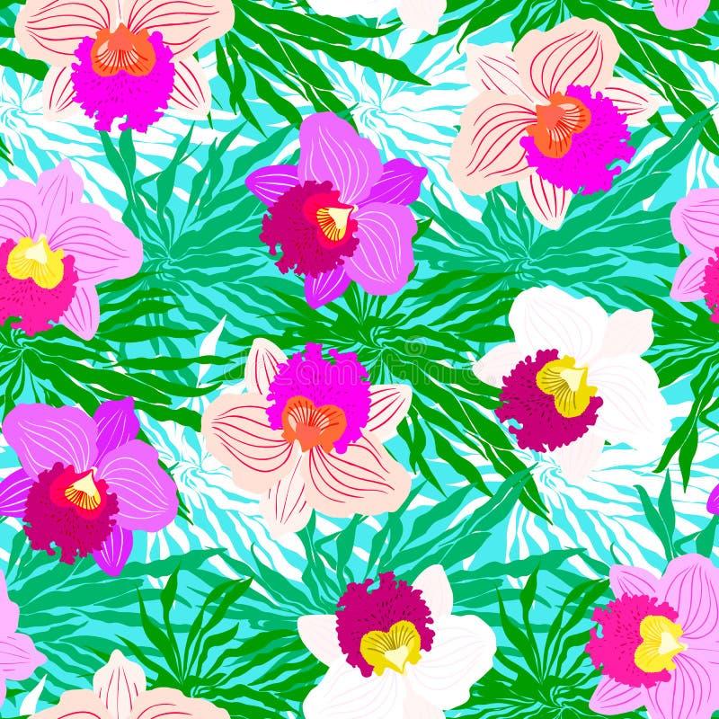 Teste padrão tropical floral com flores da orquídea ilustração stock