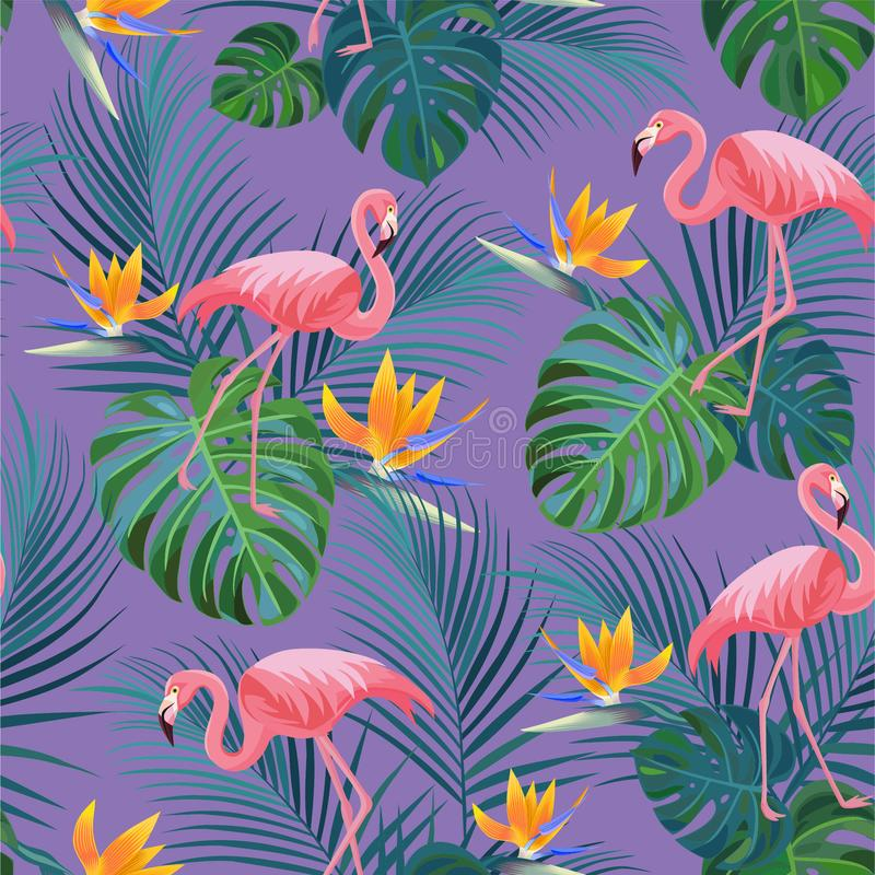 Teste padrão tropical na moda com flamingos e as flores exóticas Textura sem emenda do vetor ilustração stock