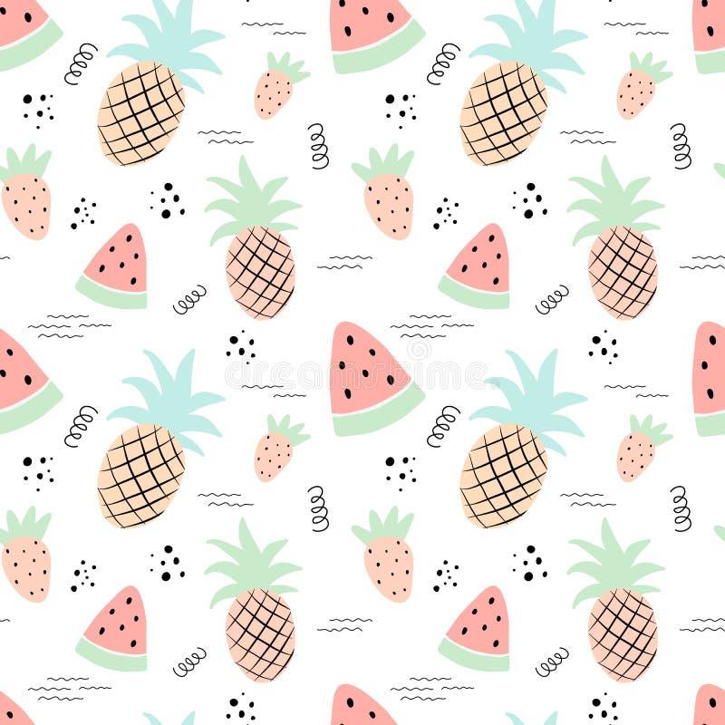 Teste padrão tropical sem emenda com abacaxi, melancia, morango Ilustração do verão do vetor de um flamingo para crianças, matéri ilustração stock