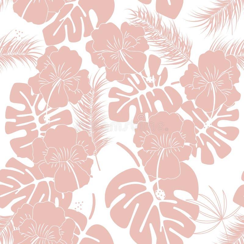 Teste padrão tropical sem emenda com as folhas e as flores cor-de-rosa do monstera no fundo branco ilustração royalty free