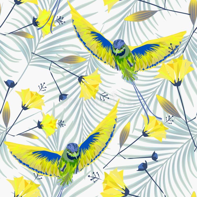 Teste padrão tropical sem emenda com colibris amarelos, flores exóticas, folhas de palmeira fotos de stock royalty free