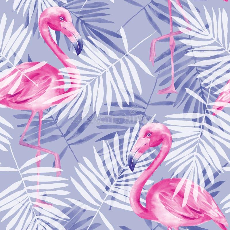 Teste padrão tropical sem emenda com flamingos 4 ilustração do vetor