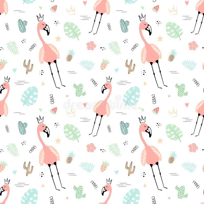 Teste padrão tropical sem emenda com flamingos cor-de-rosa, coroa, folhas, cactos, monstera Ilustração desenhado à mão do verão d ilustração do vetor