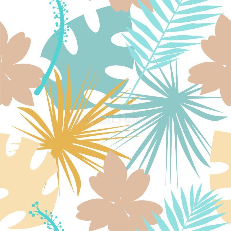 Teste padrão tropical sem emenda com flores selvagens, ervas e folhas Textura pastel para o design floral com plantas ilustração do vetor