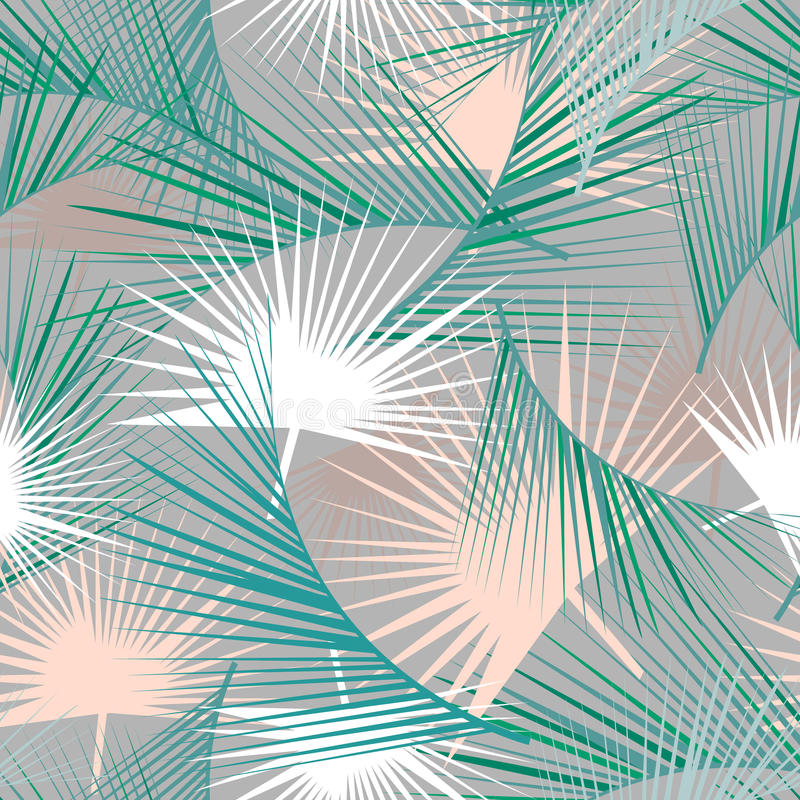 Teste padrão tropical sem emenda com folhas de palmeira verdes Textura da selva Aperfeiçoe para papéis de parede, suficiências de ilustração do vetor