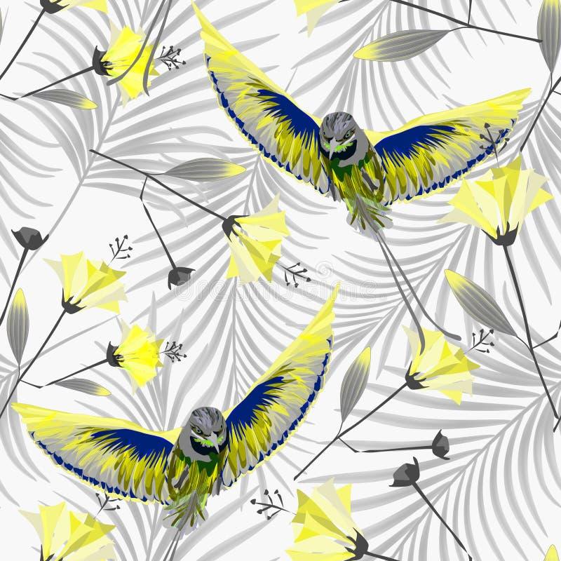 Teste padrão tropical sem emenda com os pássaros de Paradise no fundo em folha de palmeira ilustração stock