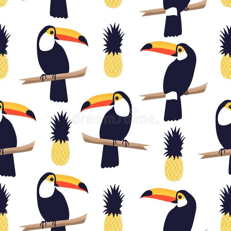 Teste padrão tropical sem emenda com tucanos e abacaxis no fundo branco ilustração royalty free