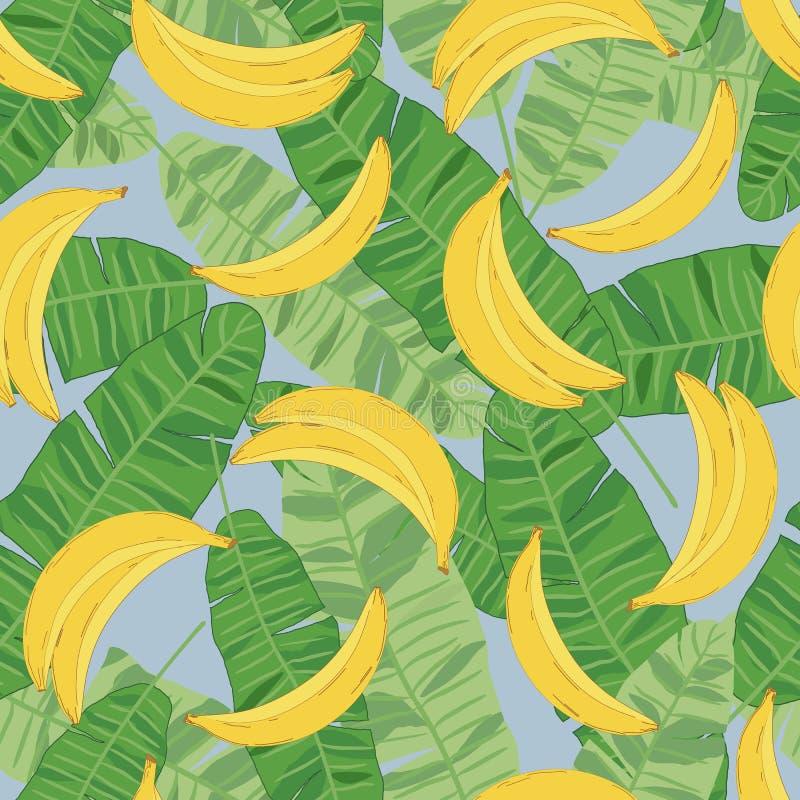 Teste padrão tropical sem emenda da banana, bananas amarelas e folhas verdes ilustração royalty free