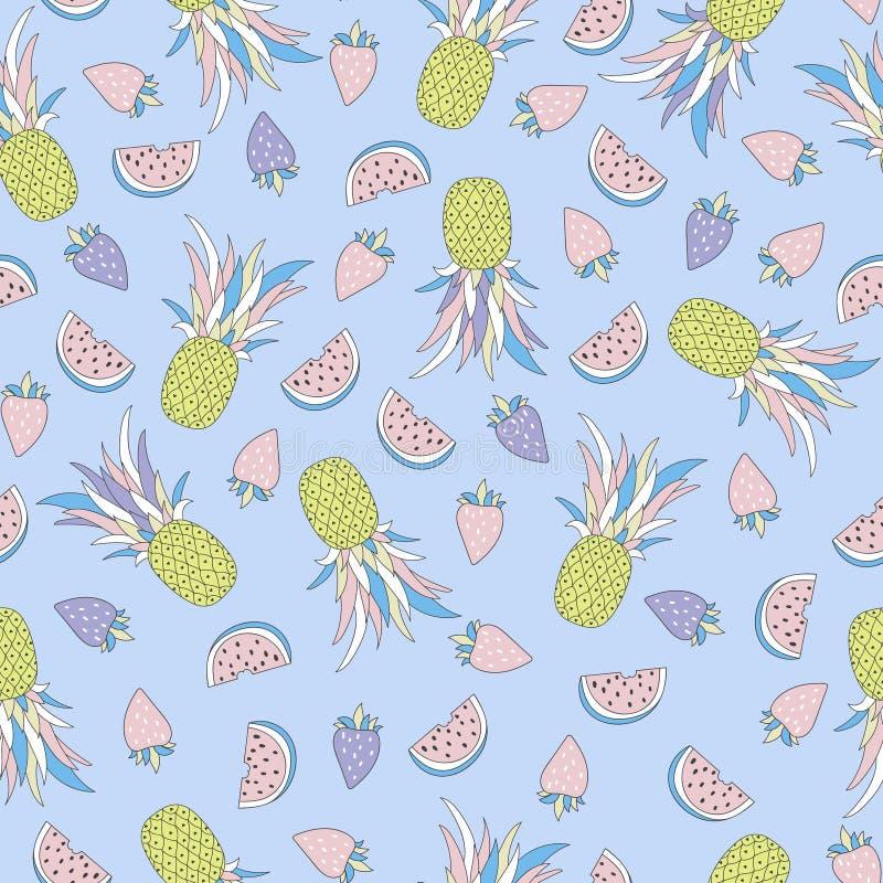 Teste padrão tropical sem emenda engraçado com frutos ilustração do vetor