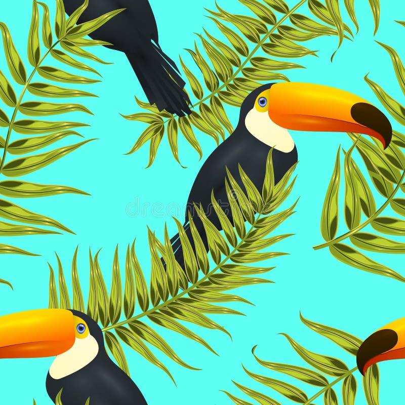 Teste padrão tropical sem emenda, fundo exótico com ramos de palmeira, folhas, folha, folhas de palmeira Textura infinita ilustração do vetor