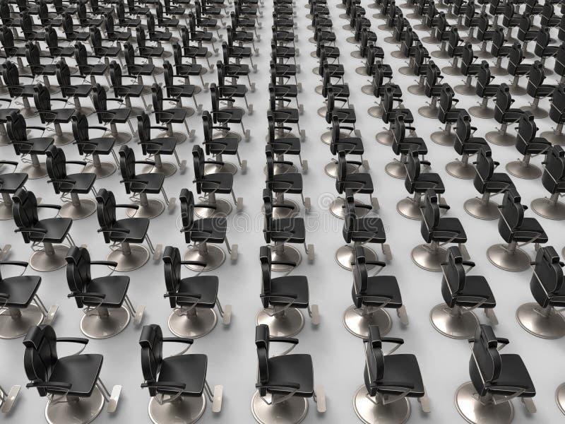 Teste padrão vazio das cadeiras de barbeiro ilustração stock