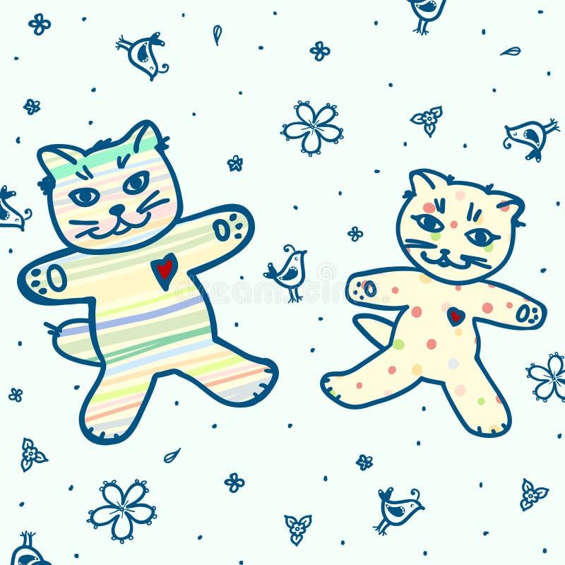 Teste padrão verde bonito com gatos e flores e pássaros ilustração royalty free