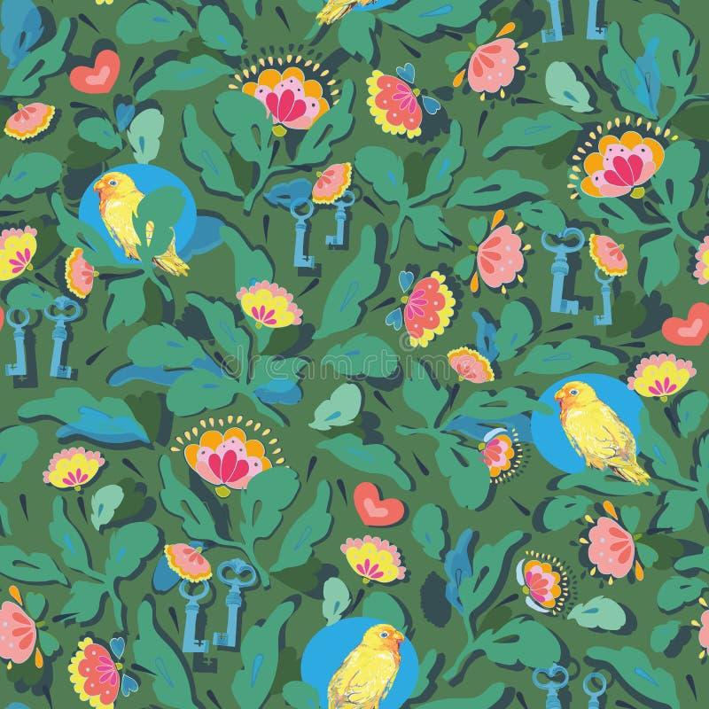 Teste padrão verde com flor e pássaro ilustração do vetor
