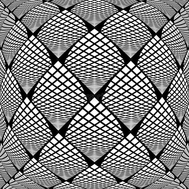 Teste padrão verificado monochrome entortado projeto ilustração do vetor