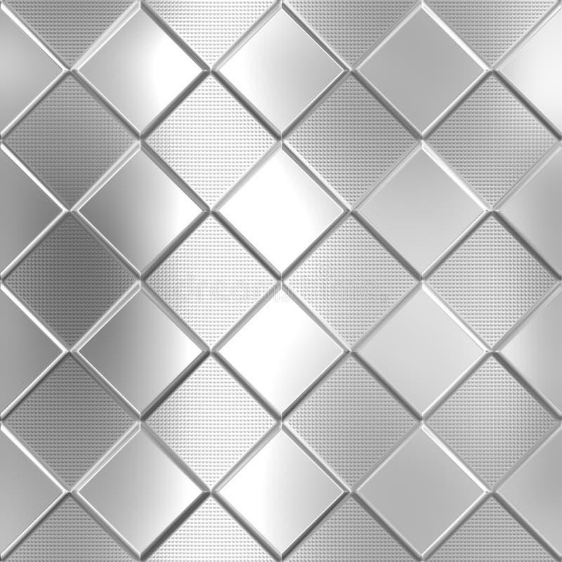 Teste padrão verificado prata do metal ilustração do vetor