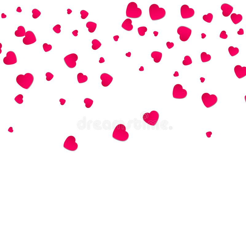 Teste padrão vermelho de confetes de queda aleatórios dos corações Limite o elemento do projeto para a bandeira festiva, cartão,  ilustração stock