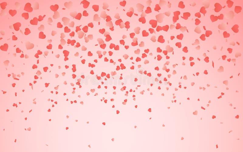 Teste padrão vermelho de confetes de queda aleatórios dos corações Limite o elemento do projeto para a bandeira festiva, cartão,  ilustração royalty free
