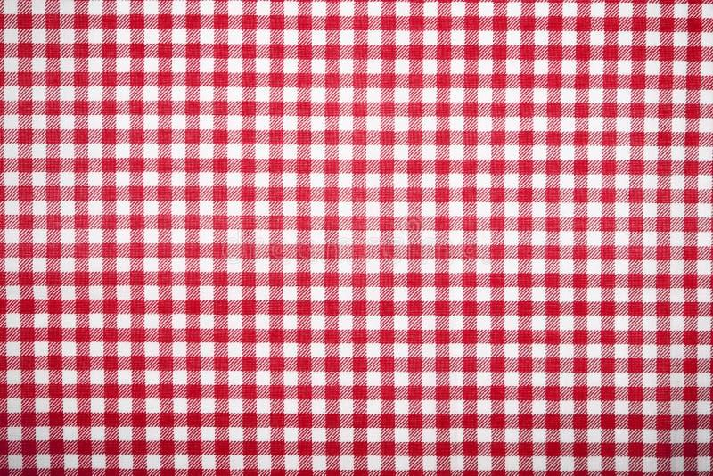 Teste padrão vermelho de pano de tabela da grade imagens de stock