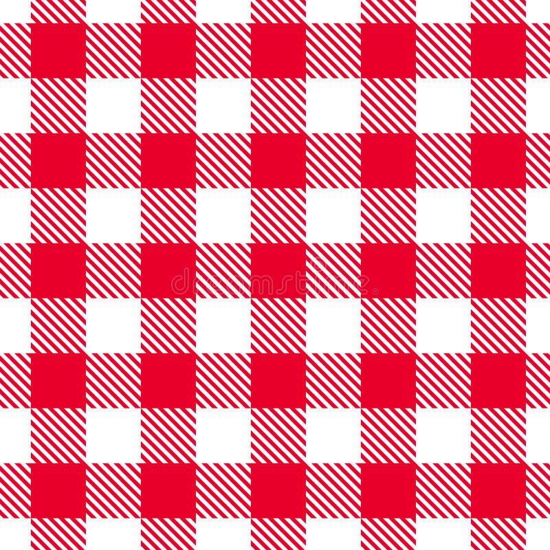 Teste padrão vermelho do guingão Textura sem emenda do vetor ilustração stock