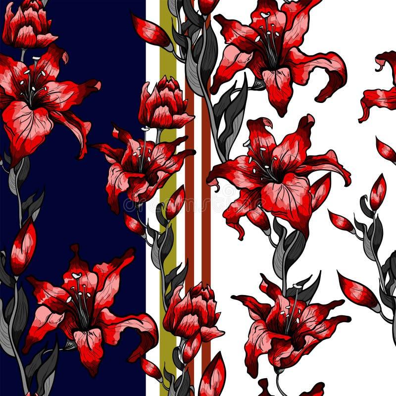 Teste padrão vermelho dos lírios sem emenda O outono do verão floresce a coleção de matéria têxtil ilustração do vetor