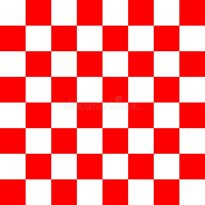 Teste padrão vermelho e branco da textura do verificador ilustração do vetor