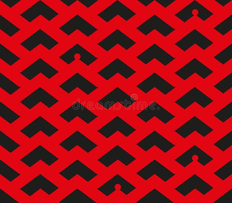 Teste padrão vermelho e preto da viga do sumário com pessoas pequenas das silhuetas em alguns lugares ilustração do vetor