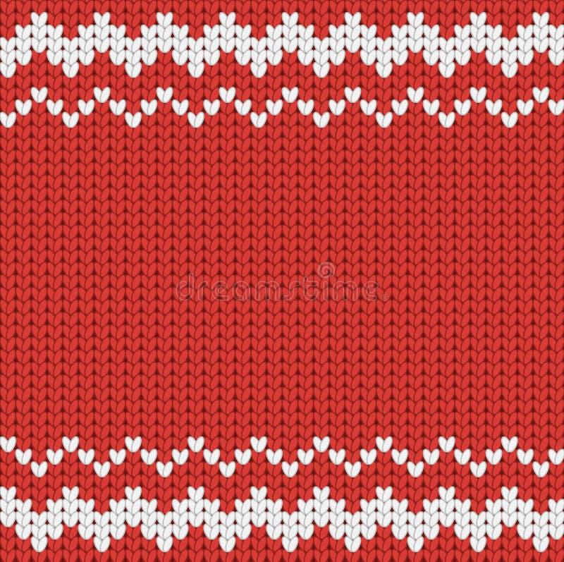 Teste padrão vermelho feito malha do Natal com ornamento geométrico ilustração do vetor