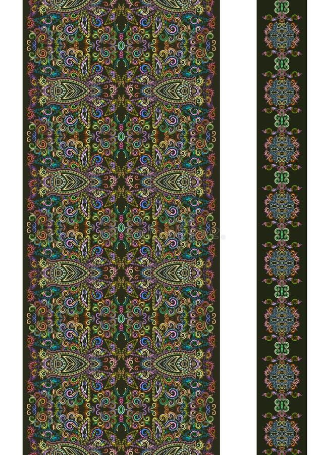 Teste padrão vertical sem emenda do laço com elementos do etno Grupo do vetor de 2 ilustração royalty free