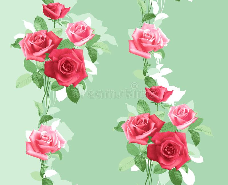 Teste padrão verticalmente repetido de rosas cor-de-rosa delicadas ilustração stock