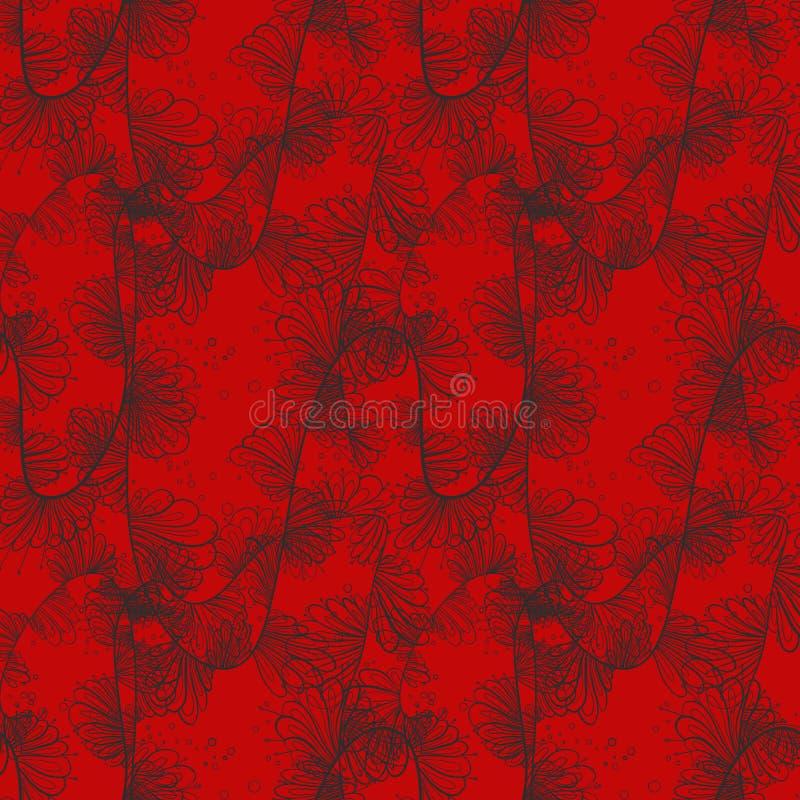 Teste padrão vitoriano laçado delicado em preto e em vermelho ilustração stock
