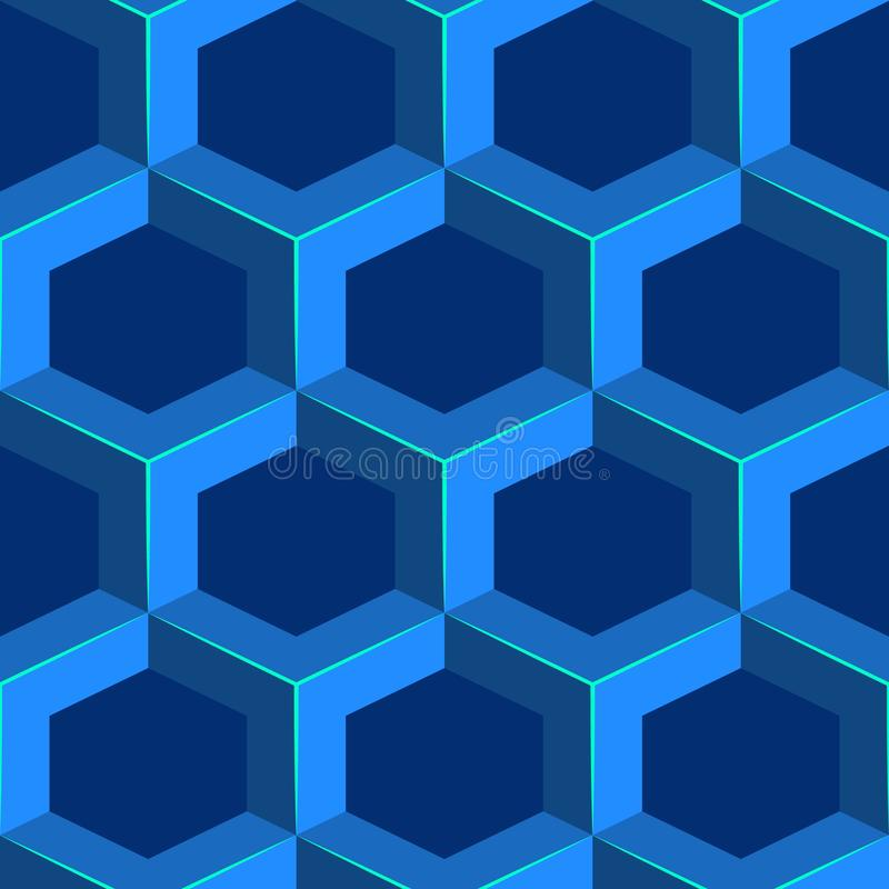 Teste padrão volumétrico geométrico sem emenda Fundo isométrico azul do favo de mel ilustração stock