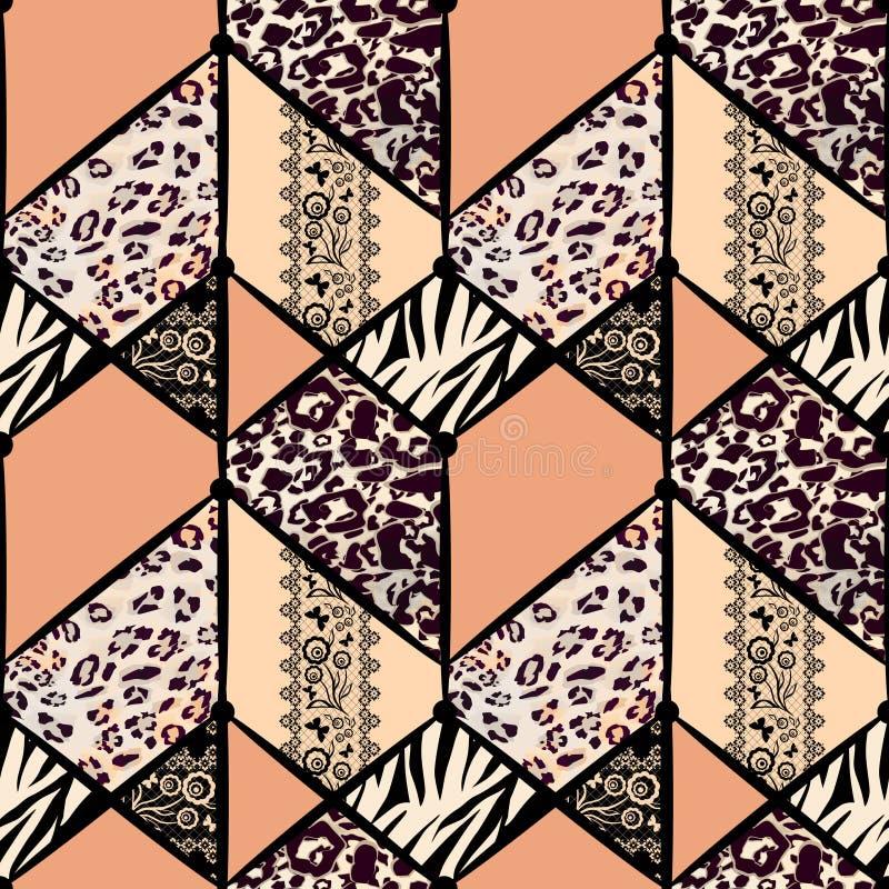 Teste padr?o abstrato sem emenda dos retalhos Pele do leopardo, pele do tigre, laço ilustração do vetor