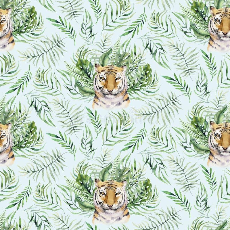 Teste padr?o animal do tigre da aquarela sem emenda com os tigres com folhas tropicais, aloha selva havaiana Folha de palmeira pi fotografia de stock