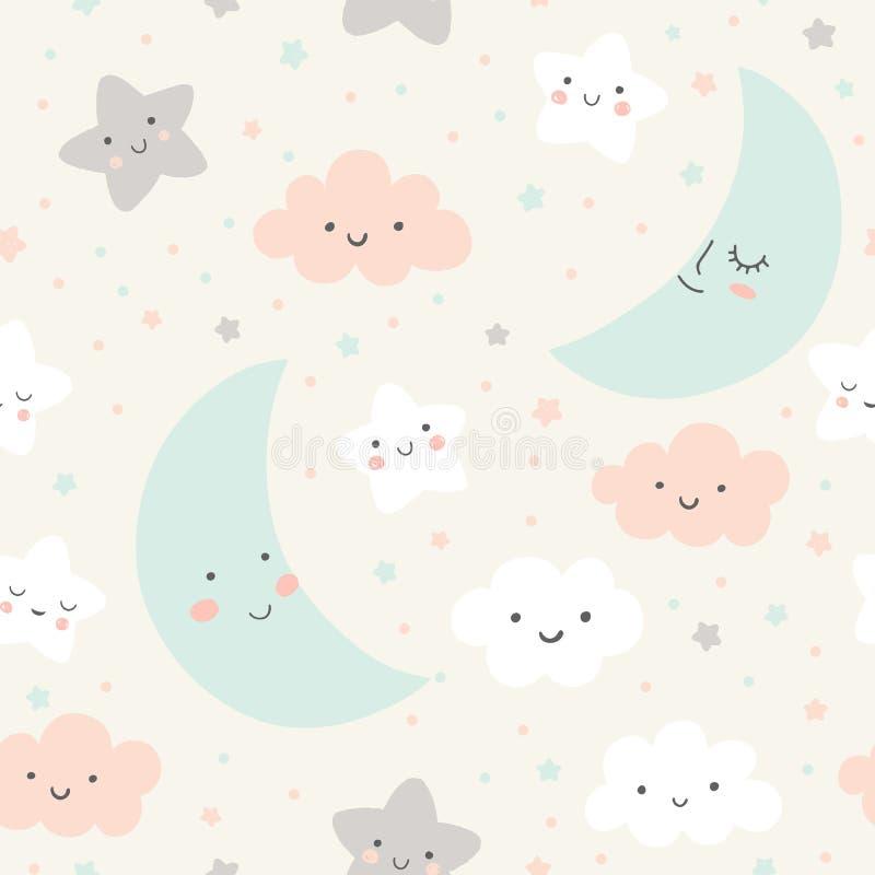 Teste padr?o bonito do c?u Projeto sem emenda do vetor com sorriso, lua do sono, estrelas e nuvens Ilustra??o do beb? ilustração royalty free