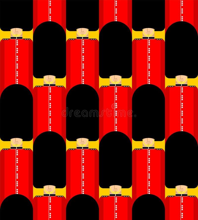 Teste padr?o brit?nico da guarda sem emenda Ornamento do protetor do Queens de Londres For?as armadas inglesas no fundo do beefea ilustração royalty free