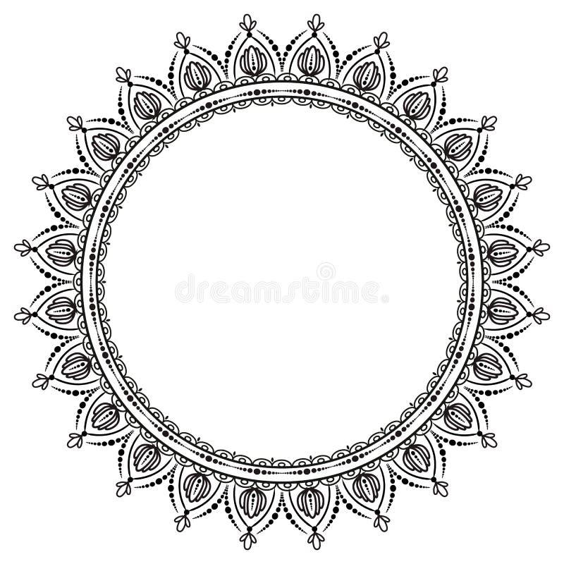Teste padr?o circular no formul?rio da mandala para a hena Mehndi ilustração royalty free