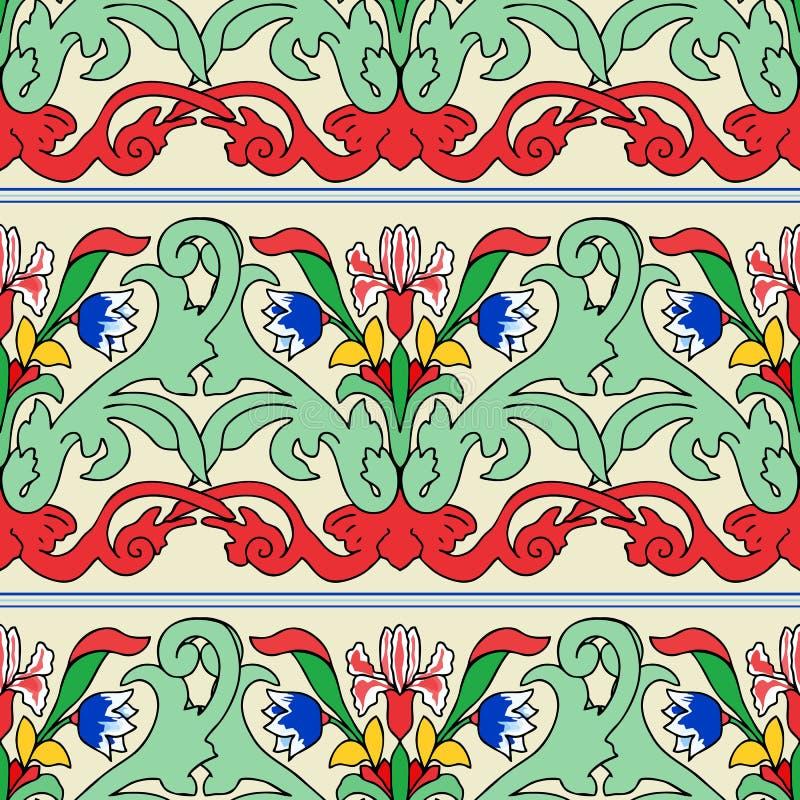 Teste padr?o colorido turco sem emenda Teste padr?o multicolorido do vintage no estilo oriental O teste padr?o floral infinito po ilustração do vetor