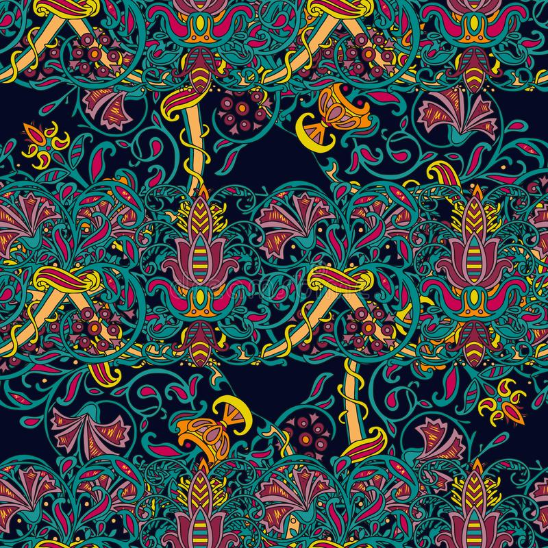 Teste padr?o colorido turco sem emenda Teste padr?o multicolorido do vintage no estilo oriental O teste padrão floral infinito po ilustração stock